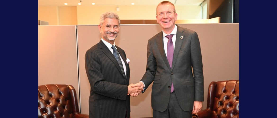 H.E. Mr. Edgars Rinkēvičs, Minister of Foreign Affairs of Latvia meets External Affairs Minister Dr. S. Jaishankar on the Sidelines of 74th UNGA